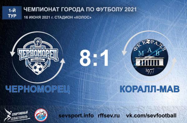 Чемпионат города по футболу 2021. 1-й тур. «Черноморец» – «Коралл-МАВ» – 8:1. Протокольные данные